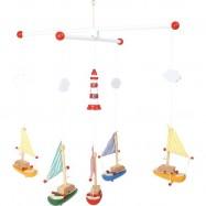 Dřevěné hračky - závěsný kolotoč plachetnice s majákem