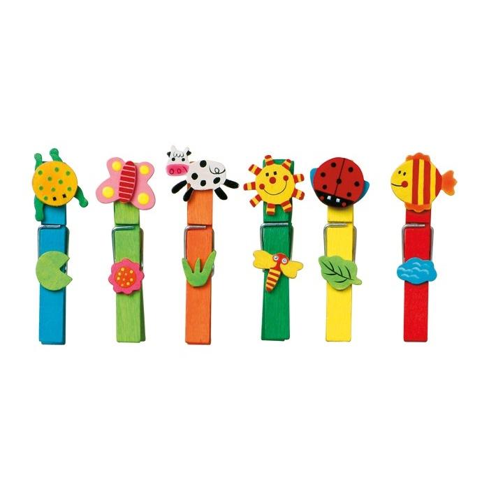 Dřevěné dekorativní kolíčky na prádlo barevné 24ks
