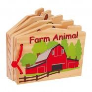 Drevená knižka - zvieratká na farme