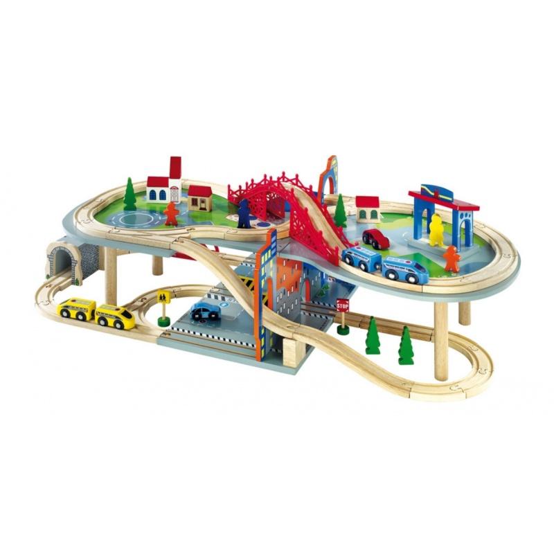 Dřevěné hračky - Dřevěná dvoupatrová vláčkodráha Malte