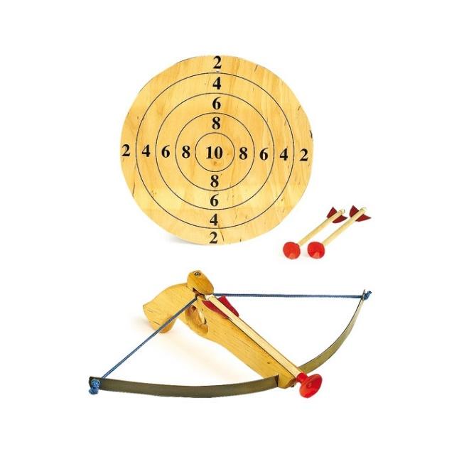 Dřevěné hračky pro kluky - Malá kuše s šípy a terčem