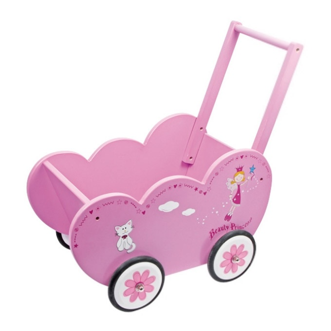 Dřevěné hračky pro holky - Kočárek pro panenky Princezna