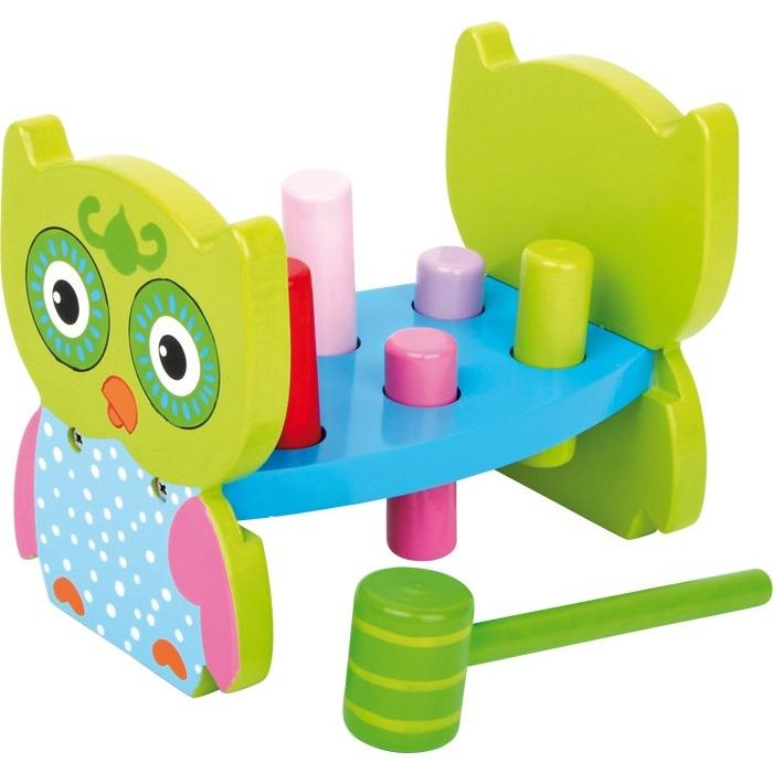 Dřevěné hračky pro kluky - Zatloukadlo sova