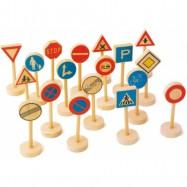Drevené hračky - Drevené detské dopravné značky veľké 18ks