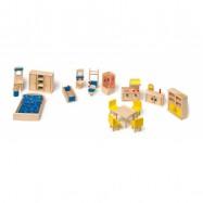 Dřevěný nábytek pro panenky s kuchyní - set