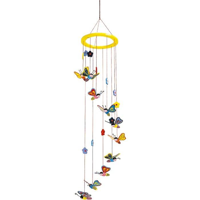 Dřevěné hračky pro nejmenší - Závěsný kolotoč Motýli