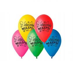 Balonek nafukovací 10'' průměr 26cm Všechno nejlepší 10ks v sáčku
