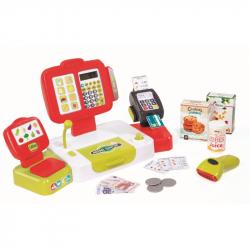Smoby - Kasa sklepowa elektroniczna z panelem dotykowym i czytnikiem Czerwona