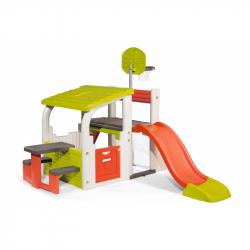 Smoby 840203 Centrum zabawy z koszem, bramką, zjeżdżalnią i stolikiem