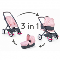 Kombinovaný kočárek Maxi Cosi světle růžový pro panenky