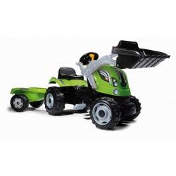 Šlapací traktor Farmer Max se lžící a vozíkem zelený