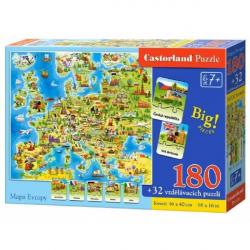 Puzzle Mapa Evropy 180 dílků + 32 puzzlí naučné 46 x 40 cm