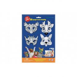 Maska škraboška 3D papierová 4ks sova, jeleň, zajac, superhrdina