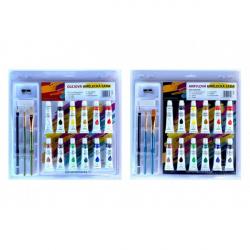 Farby akrylové 12ml 12ks sa štetcami 2ks s blokom s doplnkami na karte 31x31cm