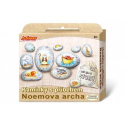 Maľovanie na štrk / kamene s príbehom Noemova archa kreatívne sada v krabičke 19x16x4cm