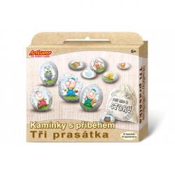 Maľovanie na štrk / kamene s príbehom Tri prasiatka kreatívne sada v krabičke 19x16x4cm