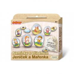 Maľovanie na štrk / kamene s príbehom Janko a Marienka kreatívne sada v krabičke 19x16x4cm