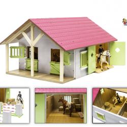 Stáj pro koně dřevěná 51x40,5x27,5cm růžová 1:24 v krabičce