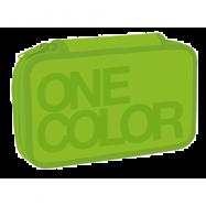 Piórnik szkolny One Color zielony dwupoziomowy