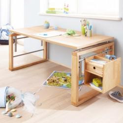 Rosnące biurko dla dzieci Haba Matti z wiszącą półka naturalny