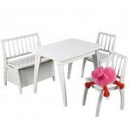 Stolik, krzesła i ławka dla dzieci Bambino biały