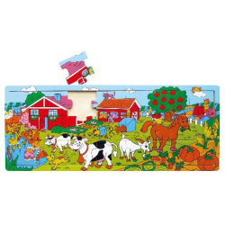 Doskové puzzle farma drevené 21 dielov