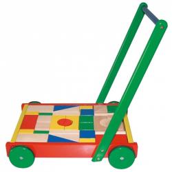 Vozík drevený veľký s kockami