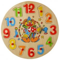 Vkladačka drevná - hodiny klaun, zajac