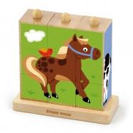 Kostky - zvířatka z farmy 9 ks