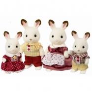 Rodzina królików z czekoladowymi uszkami