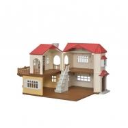 Patrový dům s červenou střechou