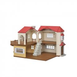 Poschodový dom s červenou strechou