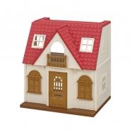 Základní dům s červenou střechou