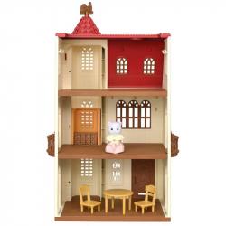 Dom s vežou a červenou strechou