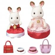 Město - chocolate 2 králičí kamarádky v elegantních šatech