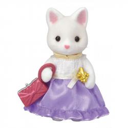 Mesto - hodvábna mačka vo fialových šatách s kabelkou