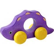 Dřevěný dinosaurus na kolečkách - fialový