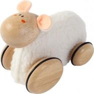Dřevěná ovečka na kolečkách