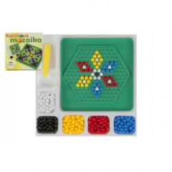 Mozaika kuličková s pinzetou malá 250 ks plast 12x12cm v krabičce