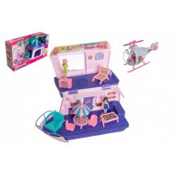 Loď pro panenky s panenkami  2ks, s helikoptérou a doplňky