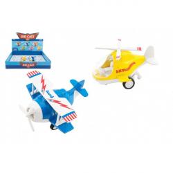 Lietadlo / vrtuľník kov / plast 10-11cm na spätné natiahnutie 6 farieb 12ks v boxe