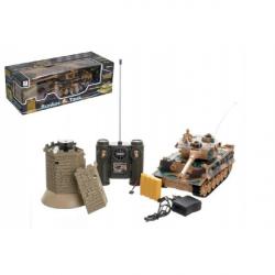 Tank RC TIGER I plast 33 cm + bunker na batérie + dobíjacie pack so zvukom a svetlom