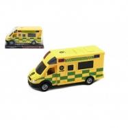 Auto ambulancie plast 17cm na zotrvačník v blistri