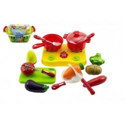 Nákupný košík s ovocím a zeleninou + doplnky krájací plast 20x10x12cm