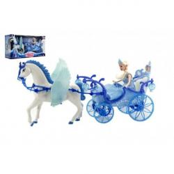 Panenka s koňem a kočárem plast na baterie se světlem
