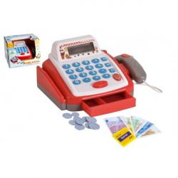 Kasa fiskalna mała cyfrowa plastik 18 cm z akcesoriami akumulatorowymi z dźwiękiem i światłem