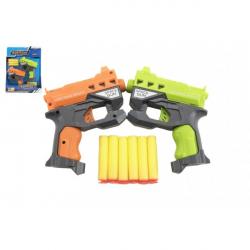 Pistolet 2szt 12cm plastik do amunicji piankowej + 6szt amunicji
