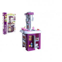 Kuchyň s doplňky sada 49 ks plast na baterie se zvukem se světlem v krabici 48x70x12cm