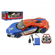 Auto RC sport racing plast 30cm na baterie + dobíjecí pack 2 barvy v krabici 44x18x22cm