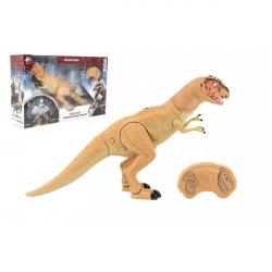 Dinosaurus chodící IC velociraptor plast 50cm na baterie se zvukem se světlem v krabici